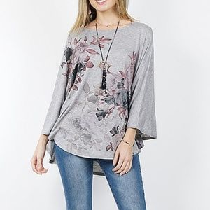 ▪︎   (3X) Gray Floral Poncho Sleeve Top▪︎
